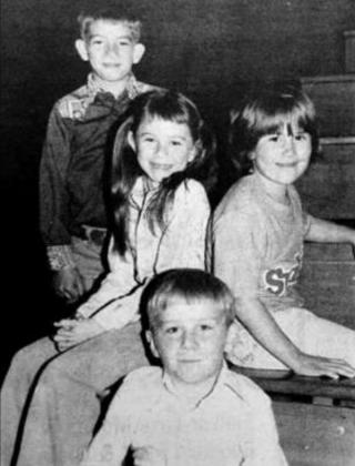 These second graders will be crown and flower bearers at the Homecoming coronation Thursday night. Chosen by the senior class for the honor, they are FRONT: Glenn Marshall, and BACK: Billy Dellis, Jackie Pesicka, and Shelby Lipp. (Timber Lake Topic Oct. 9, 1980)
